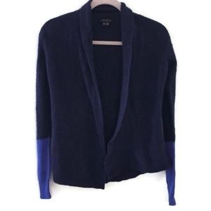 THEORY Cashmere blue colorblock open cardigan